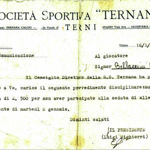 1952-01-16. Comunicazione societaria per assenza allenamenti